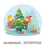 children decorates christmas... | Shutterstock .eps vector #1573197142