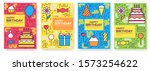 happy birthday set infographics ... | Shutterstock .eps vector #1573254622