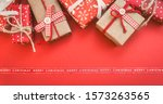 christmas greeting card with... | Shutterstock . vector #1573263565