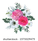 pink rose with leaves isolated...   Shutterstock .eps vector #1573329475