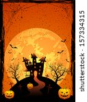 halloween night  scary house on ... | Shutterstock .eps vector #157334315