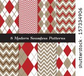 taupe and red argyle and... | Shutterstock .eps vector #157334906