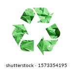 waste recycle emblem. green...   Shutterstock . vector #1573354195