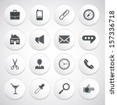 set of white round buttons with ... | Shutterstock .eps vector #157336718