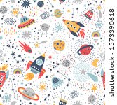 childish seamless pattern with... | Shutterstock .eps vector #1573390618