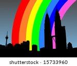 Kuala Lumpur skyline with Petronas Towers with colourful rainbow illustration