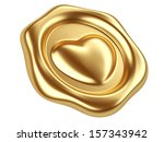 3d illustration Gold seal with heart stamp - stock photo
