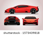 vector layout of red sports car. View from three sides. Lamborghini Huracan Evo.