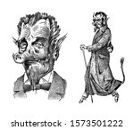 devil or demon with horns and... | Shutterstock .eps vector #1573501222
