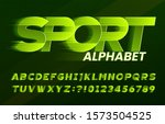 sport alphabet font. fast speed ... | Shutterstock .eps vector #1573504525