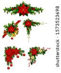 christmas decorations with fir... | Shutterstock .eps vector #1573523698