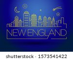 minimal new england city linear ... | Shutterstock .eps vector #1573541422