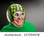 Funny Man With Watermelon...