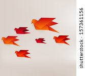 origami paper bird on abstract... | Shutterstock . vector #157361156