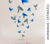 origami paper bird on abstract... | Shutterstock .eps vector #157361312
