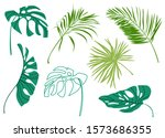 set of tropical leaves... | Shutterstock . vector #1573686355