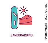 sandboarding color line icon on ...