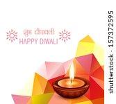stylish happy diwali vector... | Shutterstock .eps vector #157372595
