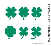 Green Shamrock Clover Vector...