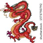 hand drawn red dragon vector... | Shutterstock .eps vector #1573750792