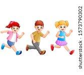 cartoon happy kids running... | Shutterstock . vector #1573790302