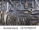 Old Repair Tools Hanging On Wall