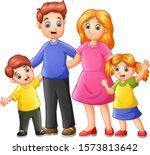 Group Funny Happy Family Cartoon