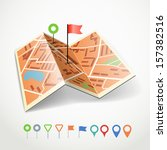 folded abstract city map with... | Shutterstock .eps vector #157382516
