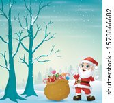 santa claus with a sack of...   Shutterstock .eps vector #1573866682
