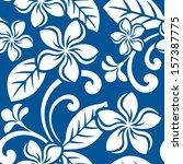 seamless island plumeria pattern | Shutterstock .eps vector #157387775