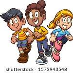 cartoon girls and boy running... | Shutterstock .eps vector #1573943548