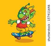 green goblin skateboarding | Shutterstock .eps vector #157411646