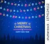 neon light of merry christmas... | Shutterstock .eps vector #1574124112
