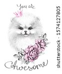 hand drawn pomeranian with pink ... | Shutterstock . vector #1574127805