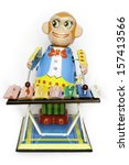 antique tin toy  wind up monkey ... | Shutterstock . vector #157413566