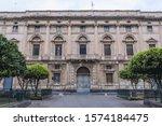 Facade of building located on Lionardo Vigo square in Acireale city on Sicily Island, Italy
