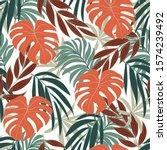 summer seamless tropical... | Shutterstock .eps vector #1574239492