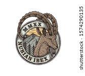Nubian Ibex Goat Badge Logo...