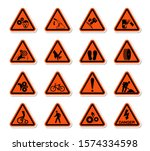 triangular warning hazard... | Shutterstock .eps vector #1574334598
