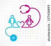 stethoscope make male female... | Shutterstock .eps vector #157438895