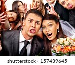 bride and groom in photo booth. ... | Shutterstock . vector #157439645