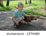 boy with badgerdog | Shutterstock . vector #1574480