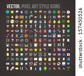 Vector color pixel art style icons set | Shutterstock vector #157450526