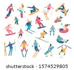 Winter activities. Vector illustration of happy cartoon skiers, snowboarders and tubing people. Isolated on white.