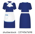 Blue Maid Uniform. Vector...