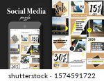 social media puzzle template... | Shutterstock .eps vector #1574591722