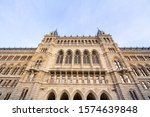 Northern facade of the Rathaus of Vienna, Austria. Also called Wiener Rathaus, it is the city hall of the city Vienna, the office of the mayor and the headquarters of the city administration.