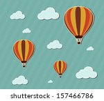 hot air balloon with clouds  ... | Shutterstock .eps vector #157466786