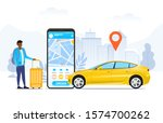 ordering or hailing a ride by... | Shutterstock .eps vector #1574700262