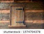 Aged Wooden Log Cabin Window ...